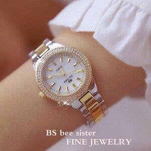 Image 3 - Женские кварцевые часы, из нержавеющей стали, с кристаллами, розовое золото, 2019