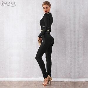 Image 5 - Женский клубный комбинезон ADYCE, черный облегающий комбинезон с длинным рукавом и V образным вырезом для подиума, для зима, 2019