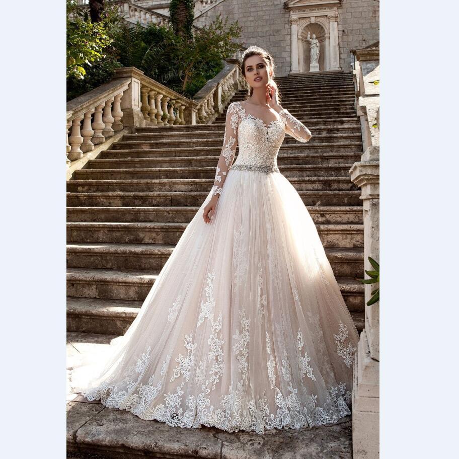 Beige Liques Lace Wedding Dresses Long Sleeve A Line Tulle Beaded Bridal Gown 2017 Custom Vestido De Noiva Mx 178 In From