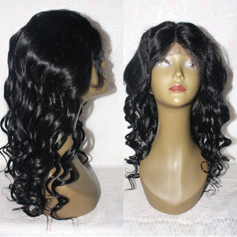Image 4 - Long Wavy Glueless Lace Front Human Hair Wigs Indian Remy Hair For Women #1 Jet Black Hair Color 130% density FlowerSeason-in Human Hair Lace Wigs from Hair Extensions & Wigs