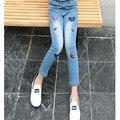 Nova bordado borboleta bebê adolescente calças jeans menina caráter shinny calças jeans para meninas crianças denim calças roupas