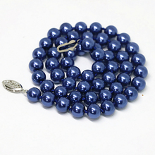 Fashion blue champagne purple green round beads necklace shell simulated-pearl charms chain choker for women jewels 18inch B1497
