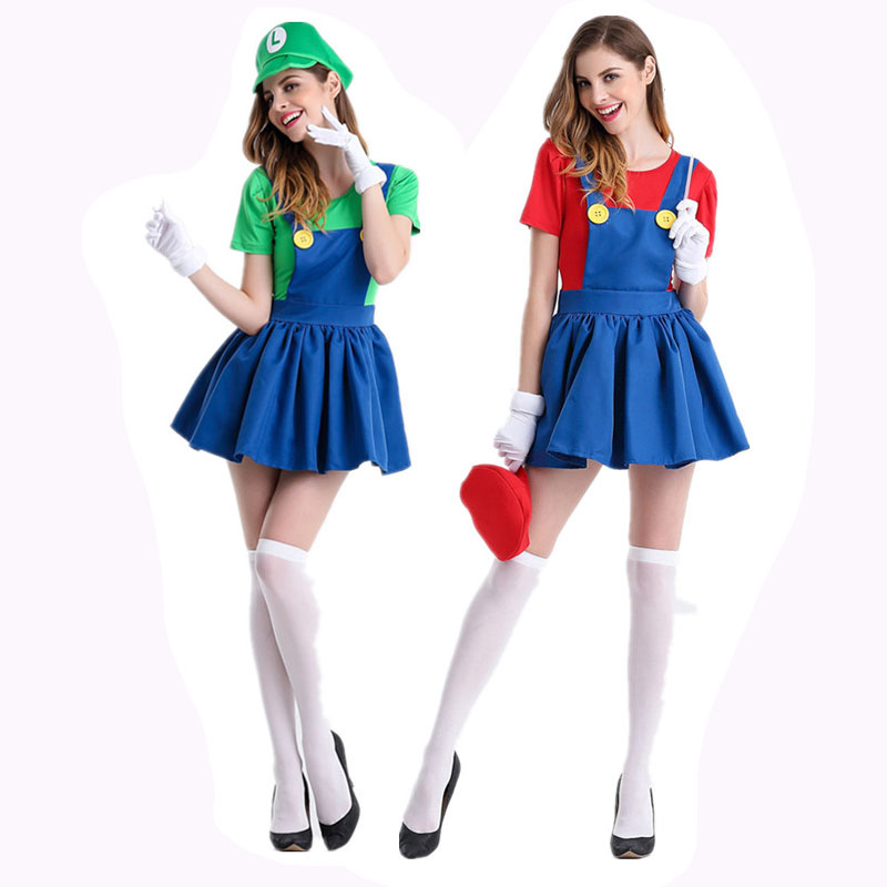 Womens Super Mario Luigi Brothers Plumber Fancy Dress Up Party Costume gloves