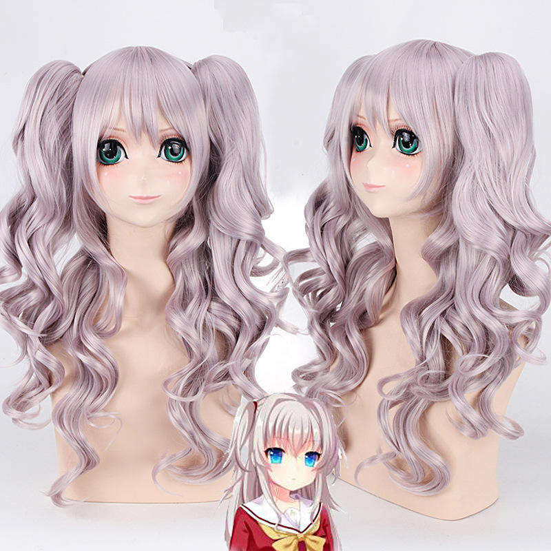 Anime Charlotte Tomori Nao Cosplay Wig With Ponytails 70cm Halloween Party Costume Women Long Synthetic Hair Wavy Wigs + Wig Cap By Scientific Process