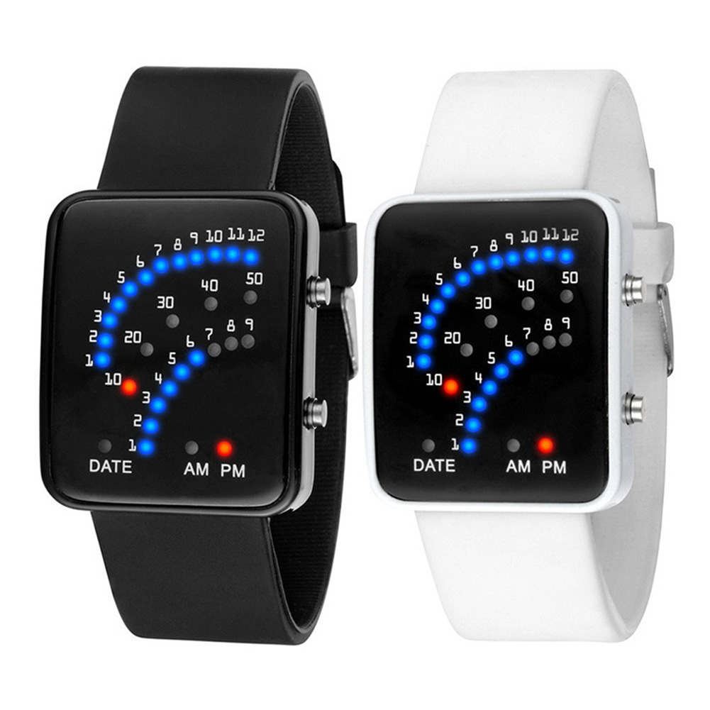 Women Men LED Electronic Wrist Watch Sector Binary Digital Fashion Unisex Couple Watches Black White TT@88