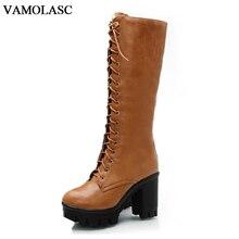 VAMOLASC New Women Autumn Winter Warm Leather Mid Calf Boots Zipper Square High Heel Boots Platform Women Shoes Plus Size 34-43