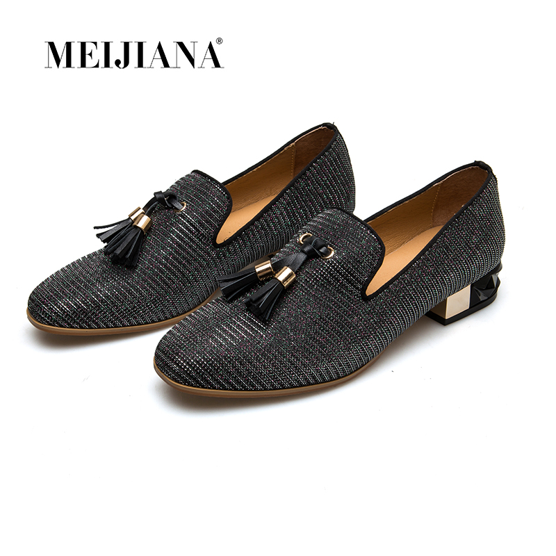 MEIJIANA 2018 Loafers Shiny Leather Moccasins Tassel Women Pumps Wedding Shoes Dance Shoes