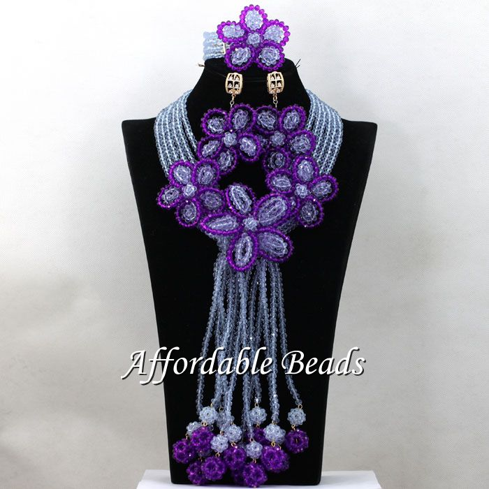 Marvelous Clear White African Wedding Set Purple Flower Brooches Costume Celebration Jewelry Present Necklace Sets New HEB024Marvelous Clear White African Wedding Set Purple Flower Brooches Costume Celebration Jewelry Present Necklace Sets New HEB024