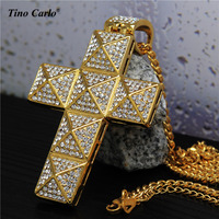 Tino Carlo 2017 New Trendy Full Iced Out CZ 3D Pyramid Cross Necklace Steel Bling Bling Cross Statement Men Jewelry 70CM JL1112