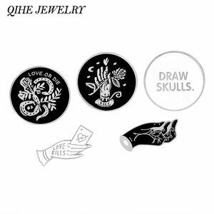 QIHE ювелирные изделия с черепами и эмалью, броши-значки в стиле панк, коллекция булавок