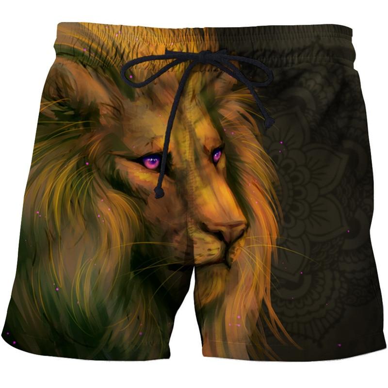 Long Hair Lion Printed Beach Shorts Men Board Shorts 3d Shorts Plage Animal Swimwear Quick Dry Pants Male Drop Ship ZOOTOP BEAR