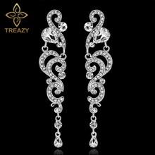 TREAZY Luxury Crystal Long Drop Earrings for Women Silver Color Hanging Chandelier Bridal Wedding Earrings Engagement Jewelry