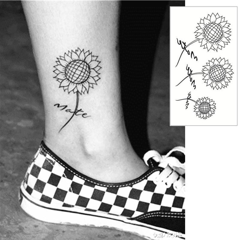 Us 046 17 Offshnapign Zonnebloem Flash Tattoo Hand Sticker 1056 Cm Kleine Waterdichte Henna Beauty Tijdelijke Lichaam Sticker Art Gratis