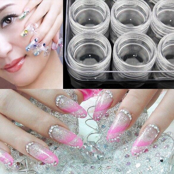 12Pcs Fashion Plastic Clear Makeup Organizer Nail Polish Container