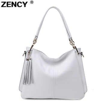 ZENCY 100% Genuine Cow Leather Women's Tassels Shoulder Bag Long Strap Handbag Cross Body Messenger White Bags Satchel Bolsa - DISCOUNT ITEM  54% OFF All Category
