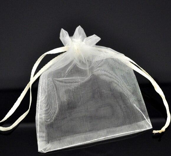 DoreenBeads Organza Organza Jewelry Bags Drawable Rectangle Ivory Pattern Pattern 12cm X9cm(4 6/8