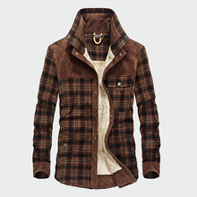 Military Men Casual Winter Wool Fleece Thick Warm Male Plaid Corduroy Shirts
