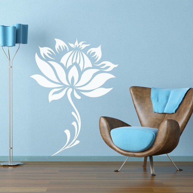 Flower And Stem Water Lily Lotus Home Decoration Yoga Meditation Wall Decor  3D Wall Decal Wall