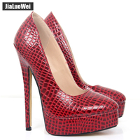 jialuowei 18CM High Heel Platform Round Toe Sexy Snake Print Shoes Women Spring/Autumn shoes Ladies High Heels Pumps Size 36 46