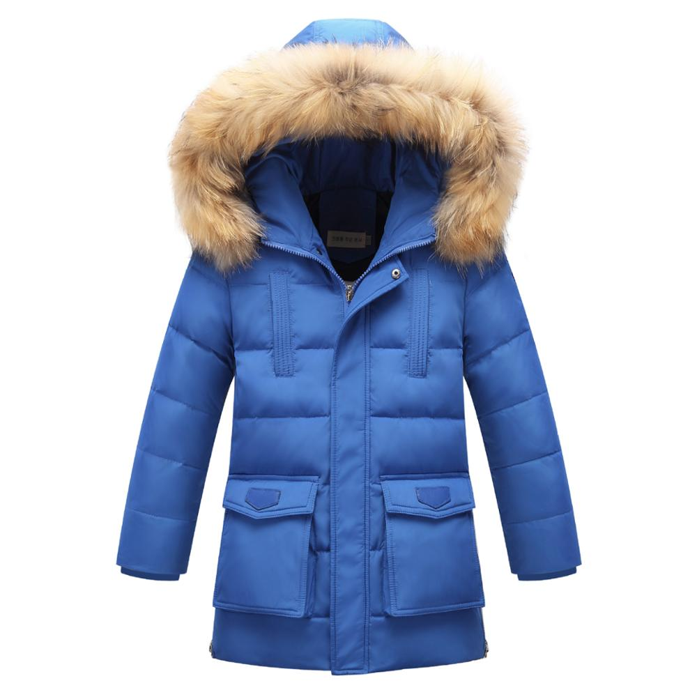 High Quality 2017 Winter Boys Thick Down Jackets Long Section Children Outerwear Kids Warm Parkas Fur Hooded Coats and Jackets high quality children down coats 2017
