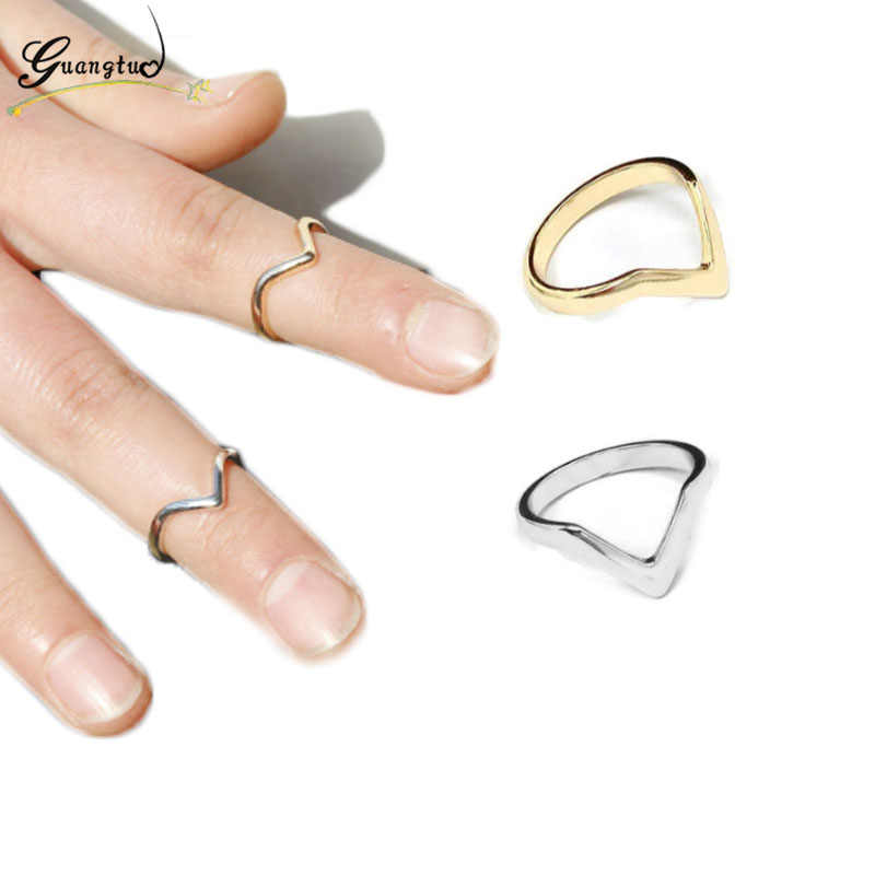 Fashion Simple V Shape Tail Finger Ring  Anillos For Women Wedding & Engagement Jewelry Knuckle Rings Bijoux Gift