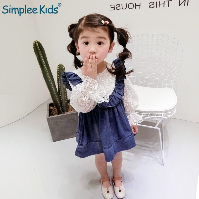 Girls Dress 2019 New Spring Princess Dress Mesh Tutu Gown Long Sleeve Cowboy Patchwork Jeans Children Girls Clothes 2T-6T