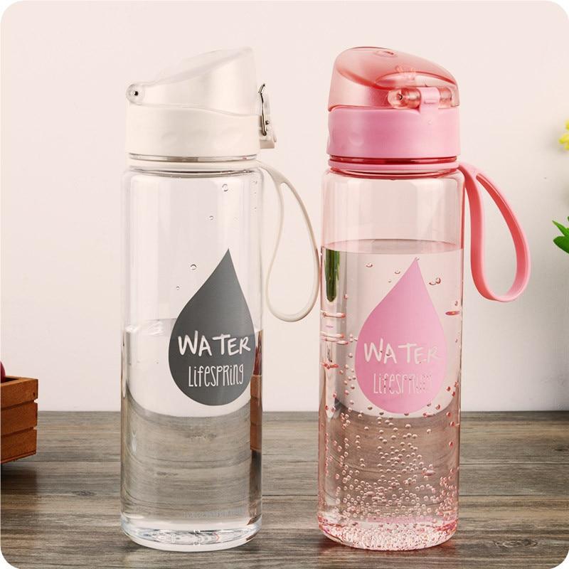 YiHAO 500 ml de plástico nueva comodidad botellas de agua de deportes amantes General del vehículo a prueba de fugas hebilla automática botella de agua