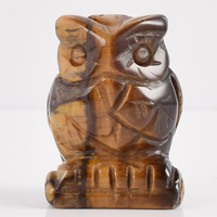 Carved Eagle Statue Natural Crystal Figurine Handmade Natural Stone Healing Reiki Mini Owl Figurine for Home Decora Owl Statue