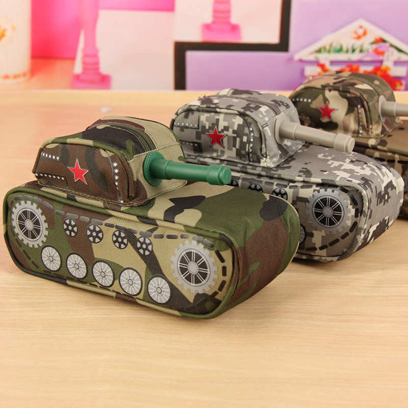 Creative Tank Shaped Pencil Box Cool Stationery Pencil Case Large Capacity Pen Bag Pouch Storage Box Students Prize Stationery creative large capacity simple design transparent pencil case bag double zipper pencil box storage stationery exam supplies pl