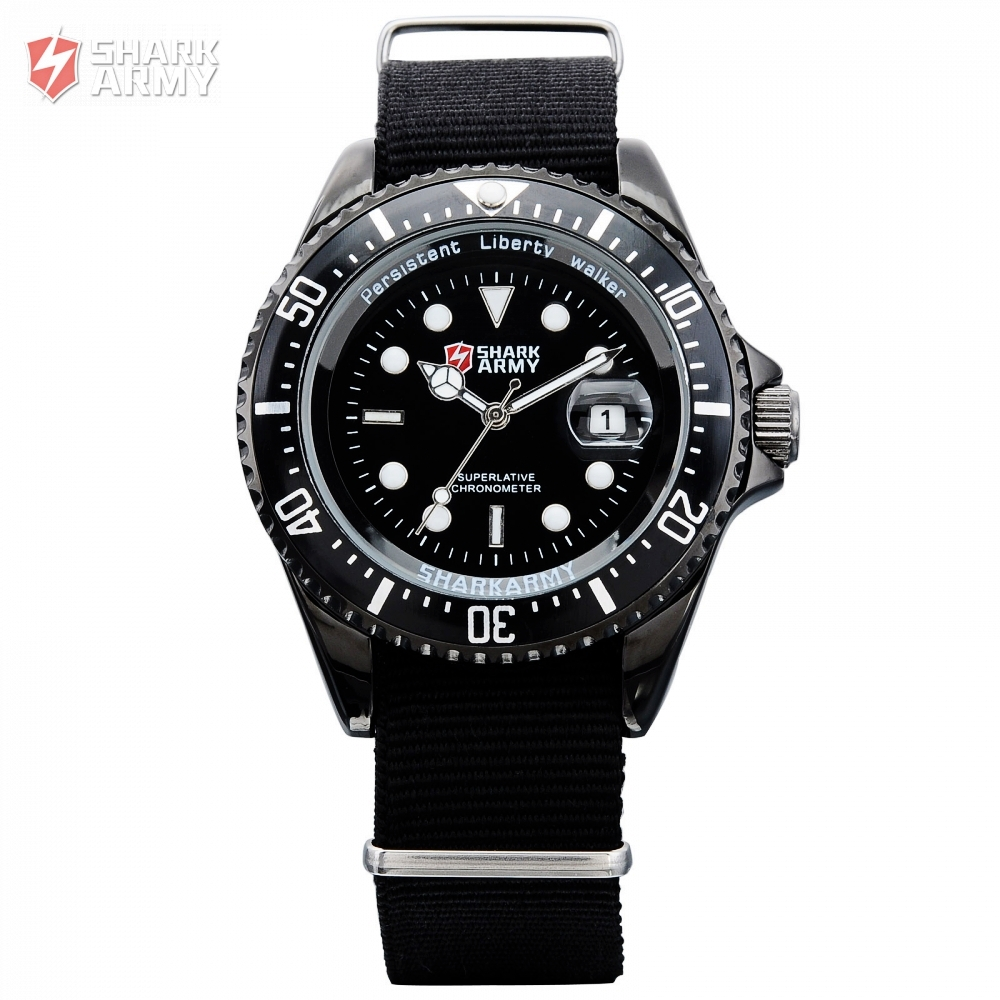 SHARK ARMY Auto Date Display Black Stainless Steel Case Nylon Fabric Strap Men Wrist Watch Quartz Sport Reloj Hombre Gift/SAW015