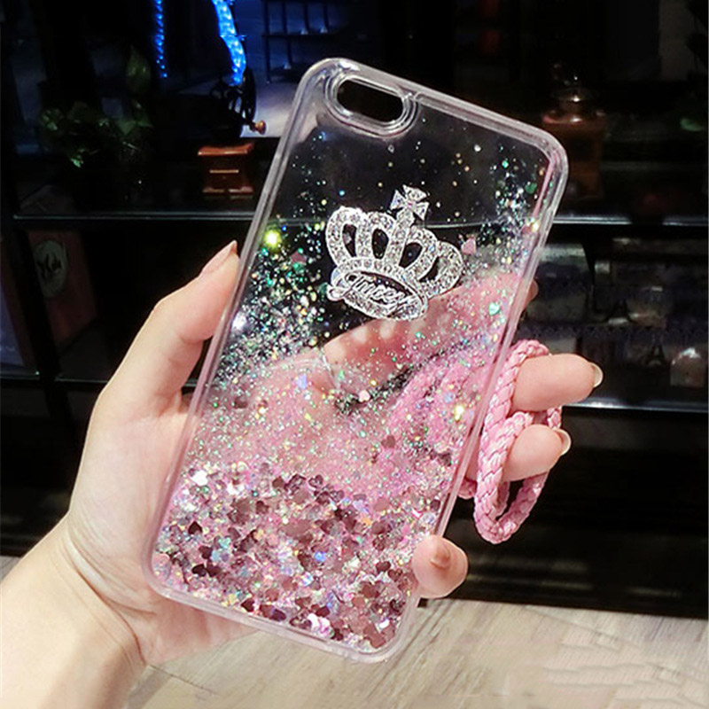 For huawei Y5 Y6 Y7 Y9 2018 Y7 Prime Fashion Phone case Diamond Crown Liquid sand Quicksand soft Back cover with lanyard