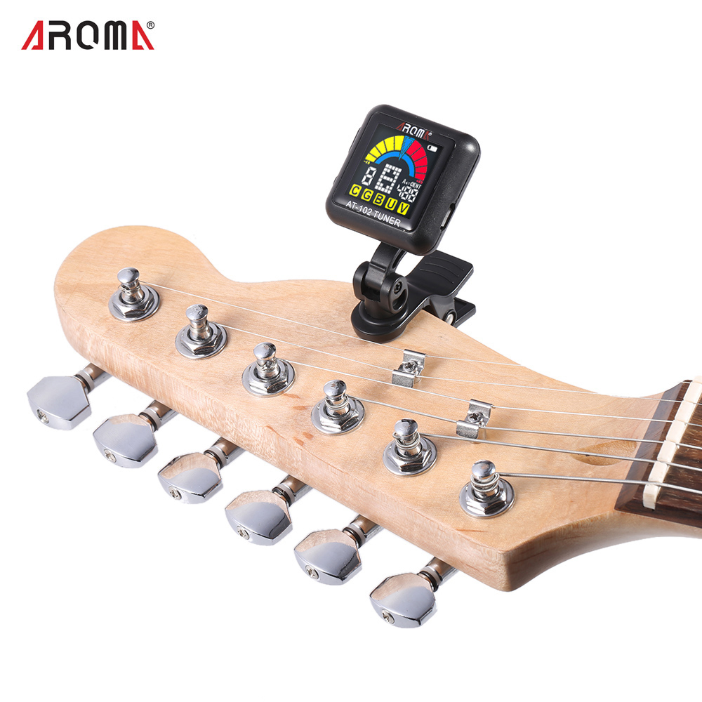 buy aroma clip on guitar tuner color screen with built in battery usb cable for. Black Bedroom Furniture Sets. Home Design Ideas