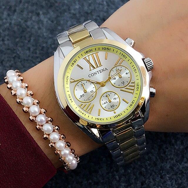 2018 New Fashion Women's Watches Luxury Famous Brand Quartz Watch Golden Stainle
