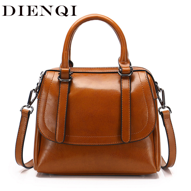 DIENQI Saffiano Genuine Leather Women Messenger Bag Laies Handbags Famous Brand Tote Crossbody Bags for Women