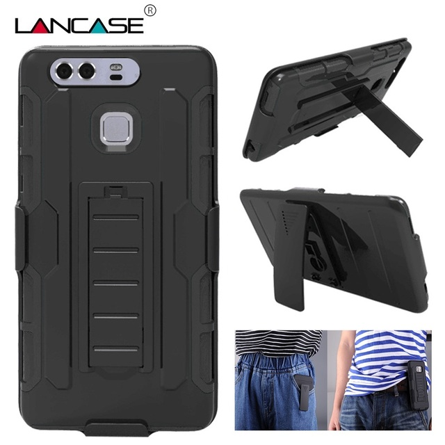 official photos 019b7 ff750 US $6.92 |For Huawei P9 Lite Case Armor Hybird Defender Military PC Hard  Case For Huawei P8 Lite P9 Case Silicone Belt Clip Stand Cover on ...