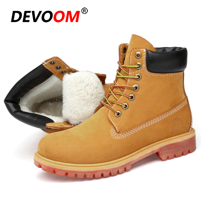 2018 Fashion Waterproof Mens Winter Boots New Nubuck Snow Shoes Men Genuine Leather Martins Ankle Boot Fur Army Boots Big Size image