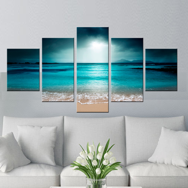 5 Piece Wall Art Sunset Beach Wall Pictures For Living Room HD Photo On  Canvas Pictures