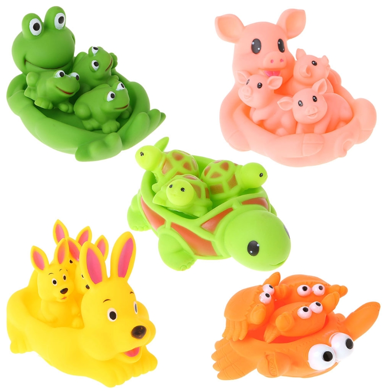 HBB Cute Animal Float Squeeze Sound Squeaky Shower Water Baby Bath Bathtub Toys Set