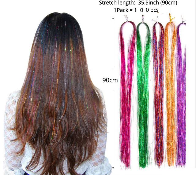 "36"" 100 Strands Colorful Long Decoration Bling Rainbow Silk Hair Extensions Dazzles Sparkle Shiny Tinsel Blue Pink Purple Green"