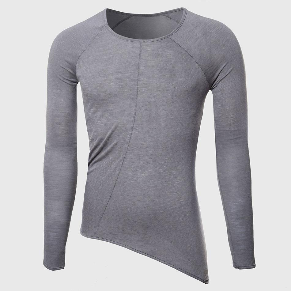 Men Cool Longline T Shirts Cute Oversize Transparent Tee Shirts Male Tall O Neck Tops Designer