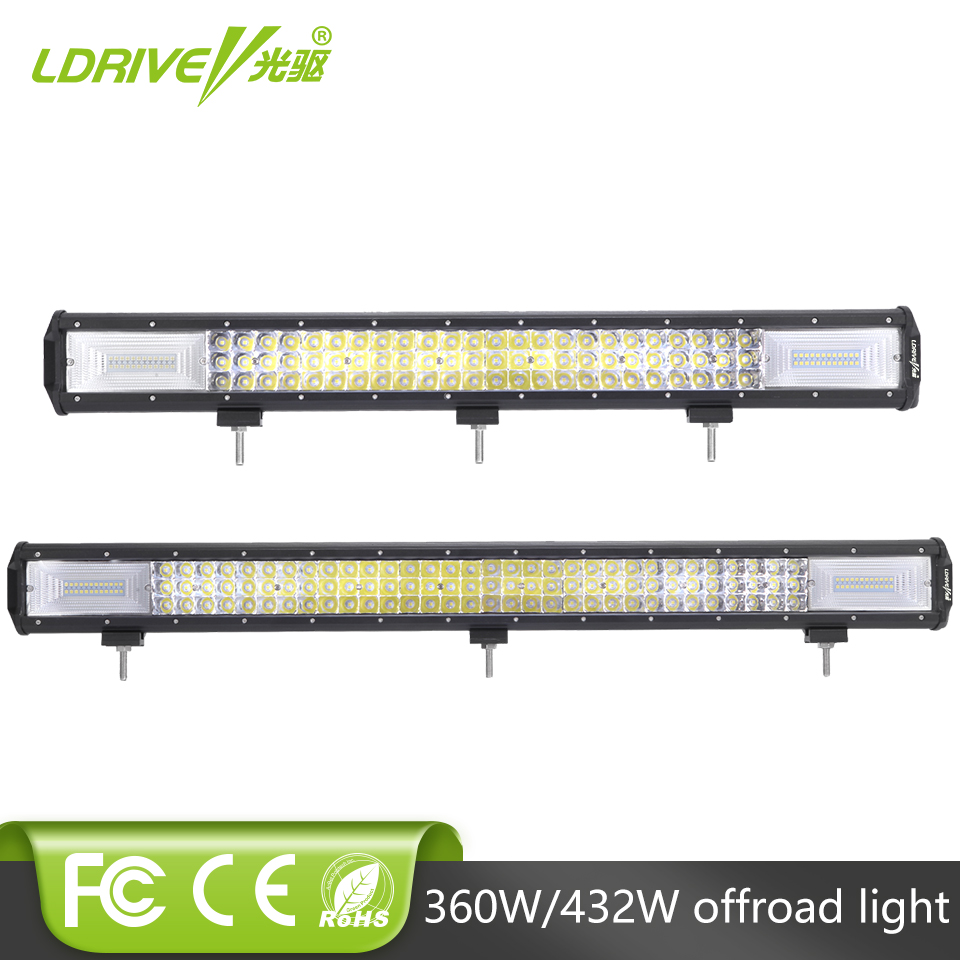 LDRIVE 360W 432W LED Bar 26 Offroad 4x4 LED Driving Light Bar 4WD Truck Tractor Boat Trailer SUV ATV 12V 24V Combo Beam LED Bar hello eovo 5d 32 inch curved led bar led light bar for driving offroad boat car tractor truck 4x4 suv atv with switch wiring kit