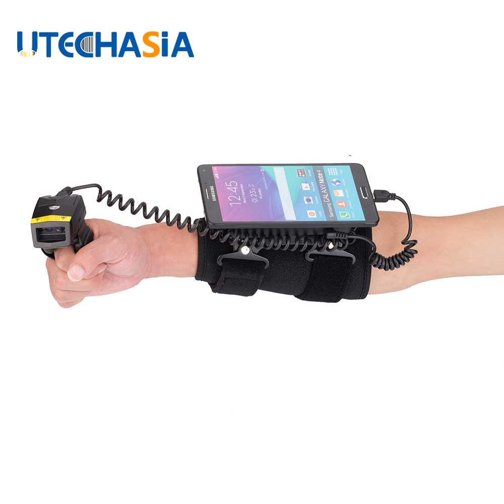цена на 2D Wired Bluetooth Barcode Scanner Finger Laser & Wearable Data Terminal WT01+FS02 Compatible With IOS Android Windows Phones