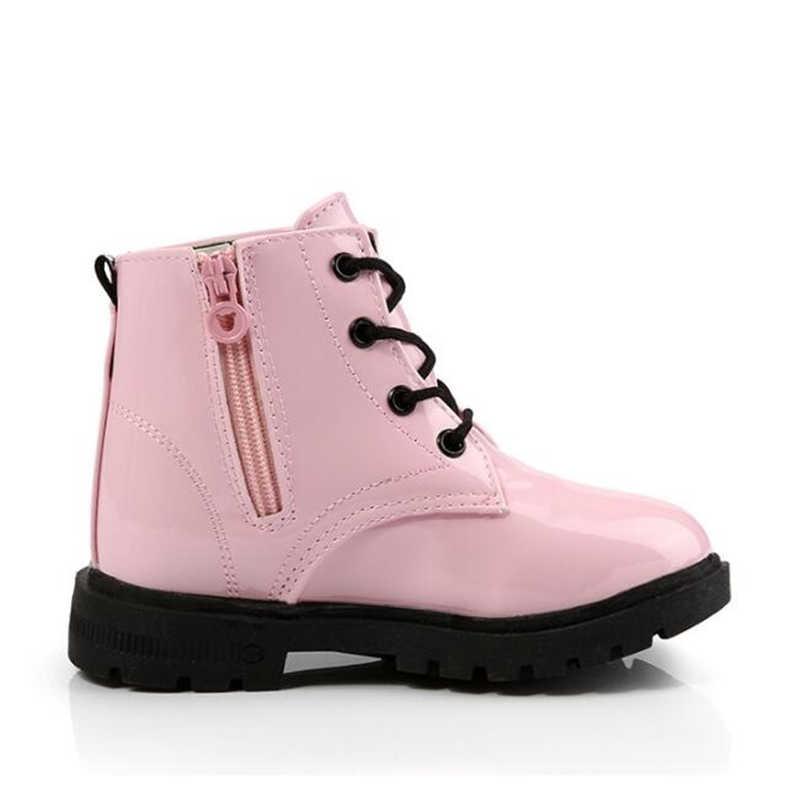 Herfst Winter Mode Kinderen Laarzen Kids schoenen Jongens Meisjes Pluche Enkel snowboots PU Leer Baby motorlaarzen 050