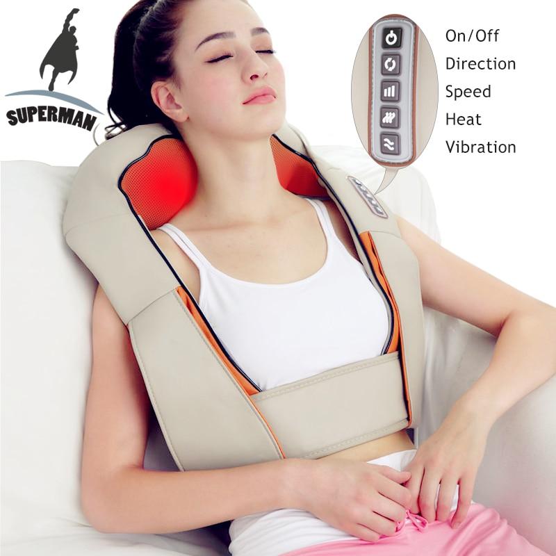 Superman Electrical Shiatsu Massager Neck Massage Device Electric Vibrating Back Shoulder Belt Massages Roller Machine
