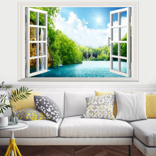 False window natural Lake landscape 3D wall sticker PVC Material wall poster For Living room Bedroom Home Decoration Murals цена