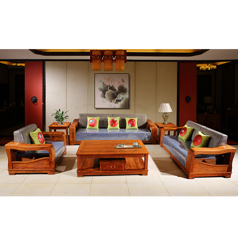 Antique Mahogany Hedgehog Large Armrest Sofa Rosewood Living Room Furniture Custom Solid Wood Rectangle Tea Table 6 Pcs/Set