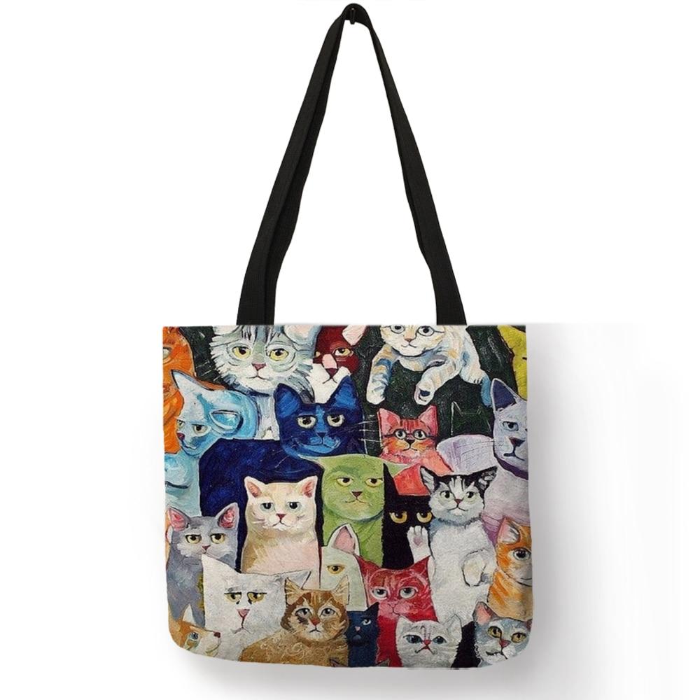 Design Cute Kawaii Cartoon Anime Cat Print Linen Tote Bag Women Fashion Handbags School Travel Shopping