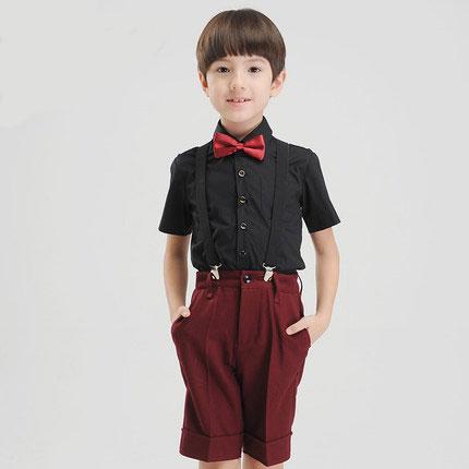 (Straps+shirt+bow tie+pant) New summer clothing sets kids Top boys girls Navy black kids clothes children School uniforms suit
