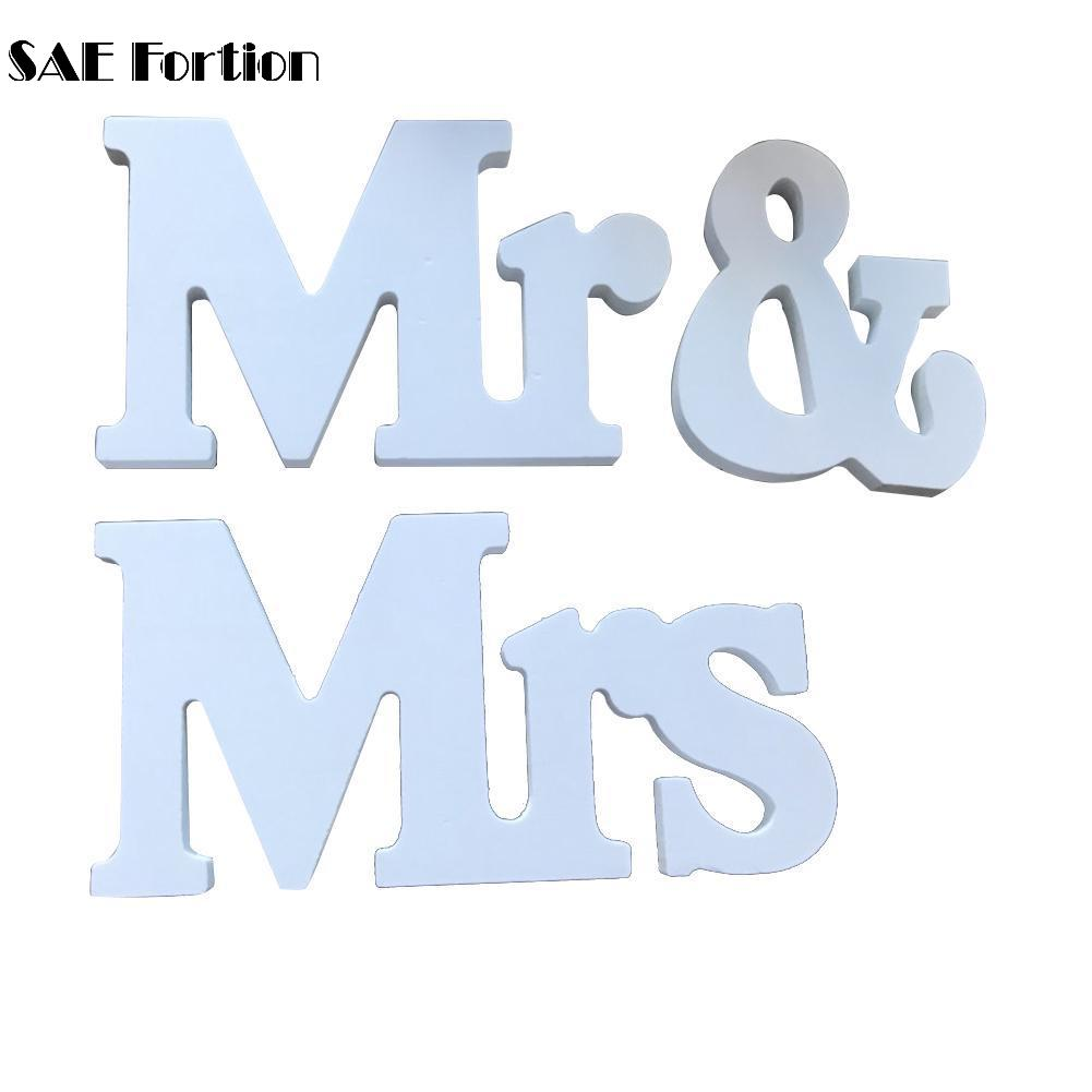 PVC Wedding Decorations Marriage Decor Mr & Mrs Birthday Party Decorations White Letters Wedding Sign WVW6584