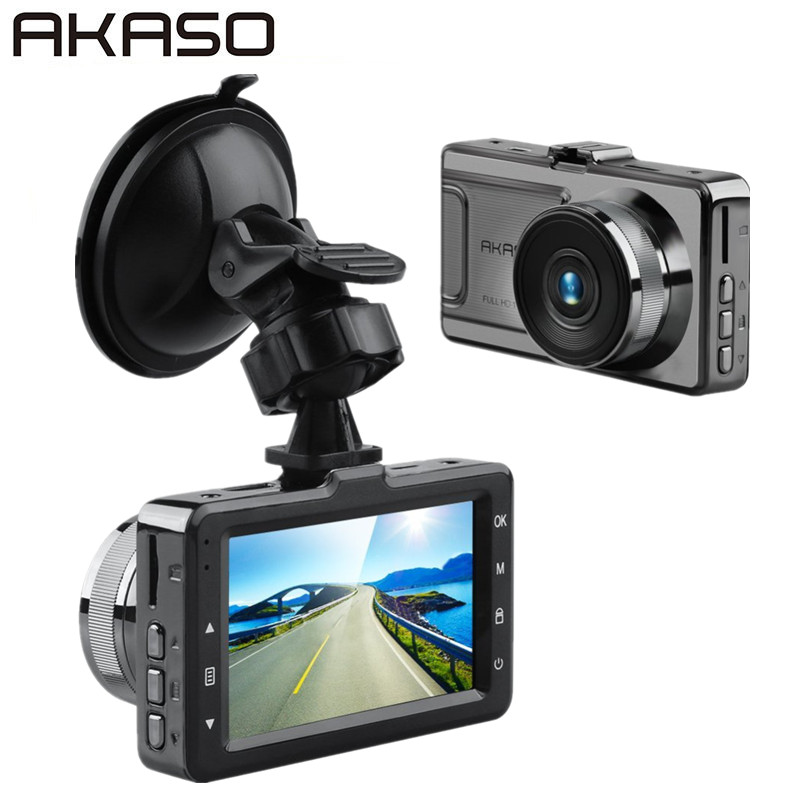 AKASO D2000 Camera Action Cam Full HD 1080 P 3 Écran 170 Degrés Grand Angle Tableau de Bord Caméra Enregistreur avec G-Capteur
